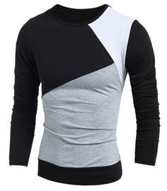 Classic Multicolor Splicing Slimming Round Neck Long Sleeves Vogue T-Shirt For Men