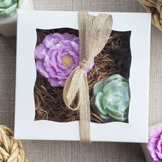 Our succulent and lavender flower soap gift box is a charming present for so many special occasions with her in mind. This soap gift is completely handmade from soap and an ideal handmade gift for Mother's Day, baby showers, and birthdays for her, not to mention spring and Easter. #giftideas #handmade #flowers