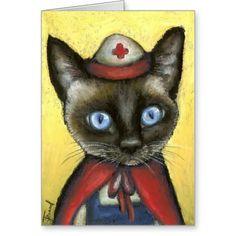 Chat d'infirmière carte de vœux