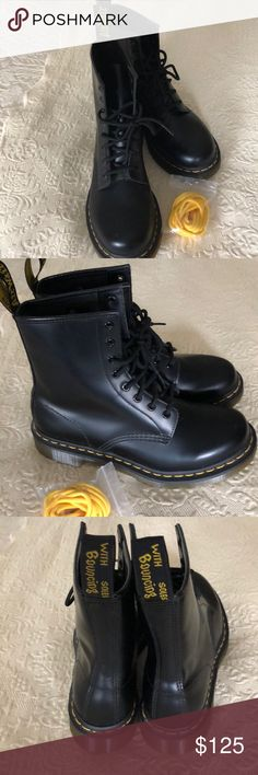 DOC MARTENS BOOTS Doc Martens Black Boots, size 8, brand new. I ordered the wrong size. They have the extra yellow laces with them. Dr. Martens Shoes Lace Up Boots