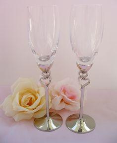 Elegant Heart Stem Wedding Toasting Flutes 21069