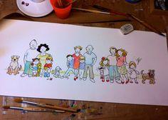 Geïllustreerd Familie portret op maat op Etsy Snoopy, Etsy, Fictional Characters, Vintage, Art, Paper, Art Background, Kunst, Vintage Comics