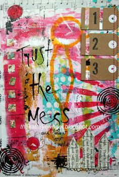 The Kathryn Wheel: Gelli plate background (little tutorial). Nice to see stuff actually made with the Gelli prints.