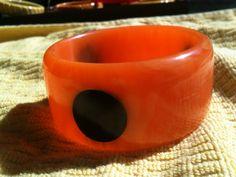 Vintage Bakelite Wide Chunky Orange Bangle by CrowsNestAntiques, $225.00