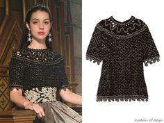 """In the episode 2x08 (""""Terror of the Faithful"""") Queen Mary wears this Oscar de la Renta Metallic Open Knit Cashmere Blend Top(£451.50). Worn with RJ Graziano earrings, Jennifer Behr tiara and Gillian Steinhardt labyrinth and signet rings."""