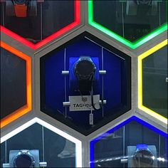 Tag Heuer Timepieces (not ordinary wrist watches) is the brand tagline of this vibrant Tag Heuer Neon Hexagon Honeycomb in-store display Logo Branding, Logos, Watch Display, Tag Heuer, Wrist Watches, Honeycomb, Retail, Ideas, Hexagons
