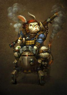 RPG Rabbit warrior character steampunk