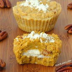 3/4 cup coconut butter 3 tablespoons coconut oil 1/4 cup finely shredded coconut 1/2 cup pumpkin puree 3 tablespoons crushed pecans 1 teaspoon ground cinnamon 1/2 teaspoon freshly ground nutmeg  Combine coconut butter, coconut oil, shredded coconut and pecans Reserve 1/4 cup of this mixture and set aside to use later Mix in pumpkin puree, cinnamon and nutmeg to remaining mixture Spoon in pumpkin