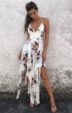 8992f75af5f Sexy Floral Print Spaghetti Strap V Neck Backless Irregular Beach Maxi Dress