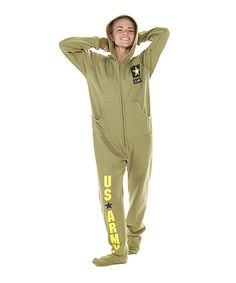 Take a look at this Green 'U.S. Army' Hooded Footed Pajamas - Adults on zulily today!