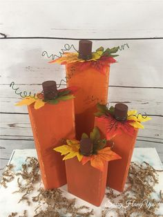 29 easy and festive fall decor ideas 00003 Fall Wood Crafts, Halloween Wood Crafts, Wood Block Crafts, Holiday Crafts, Wood Blocks, Thanksgiving Wood Crafts, Fall Wood Projects, Fall Pumpkin Crafts, Pumpkin Ideas