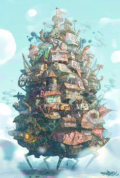 ハウルの動く城・Howl's Moving Castle Totoro, Studio Ghibli Art, Studio Ghibli Movies, Hayao Miyazaki, Howl's Moving Castle, Howls Moving Castle Wallpaper, Personajes Studio Ghibli, Plakat Design, Anime Scenery
