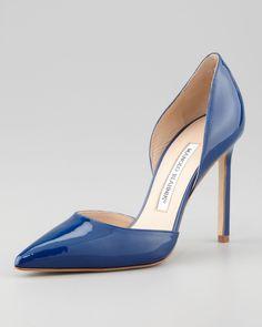 Manolo Blahnik Tayler Patent Pointed d'Orsay Pump Blue