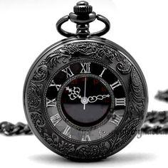 Quartz Pocket Watch Black Chrome <3 <3 <3