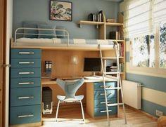 chambre d'ado garcon, lit superposé et sol en parquet clair, meubles beiges