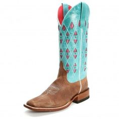Macie Bean Women's Inlay Square Toe Chocolate Cowgirl Boots