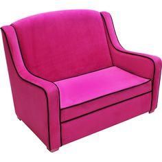 Tween Hot Pink And Black Trip Mini Sofa Perfect For A Bedroom