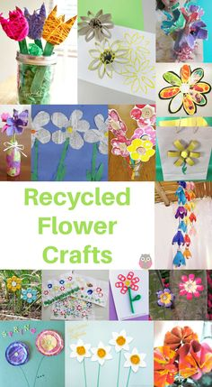 Recycled Flower Crafts. Here are more than 40 wonderfully beautiful flower crafts made from the recycling! #emmaowl #kidsactivities #springtimeideas #springcrafts #recycledcrafts #recycledflowerideas #recycledcrafts #kidsspringactivities #flowerideas #easyspringcrafts #flowerart #kidsspringactivities Spring Crafts For Kids, Easy Crafts For Kids, Easy Diy Crafts, Recycled Crafts, Toddler Crafts, Preschool Crafts, Easter Crafts, Diy For Kids, Crafts To Make