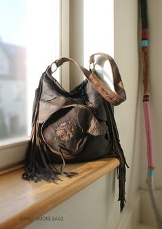 Large leather bag hobo brown pirate style by SweetSmokebags