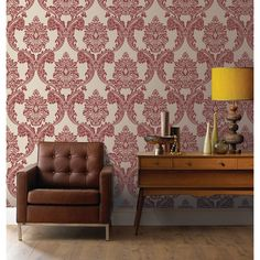 A super textured durable expanded vinyl featuring a Grand Damask wallpaper design and the Renaissance design as a background. In opulent red and cream gilded with gold glitter highlights and a textured finish. Perfect for covering up minor wall imperfections and blemishes as the 3 dimensional finish helps to disguise lumps and bumps and also makes it easier to decorate with. This product is peelable so when it is time for a change the removal process is easier. Use alone on all 4 walls or…