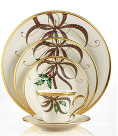 Lenox Dinnerware, Holiday Nouveau Ribbon Collection - LOVE this pattern! Christmas China, Christmas Plates, Noel Christmas, Lenox Christmas Dishes, Lenox Dishes, Christmas Table Settings, Christmas Tablescapes, Christmas Decorations, Christmas Dinnerware
