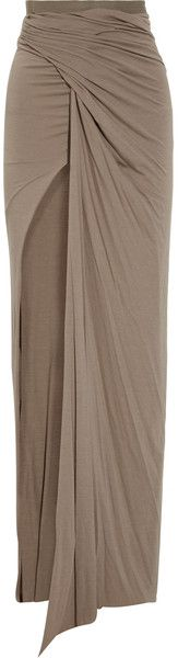 Rick Owens Lilies Draped Stretchjersey Maxi Skirt in Beige (flesh)