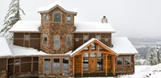 We know nobody wants to talk about snow after such a chilly winter, but we cannot resist sharing this grand home perfect for mountain living! Mountain Living, Grand Homes, Cellar, Construction, Cabin, Snow, House Styles, Winter, Home Decor