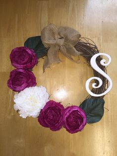 Persian Buttercup and Peony wreath grapevine by DesignsByBrita