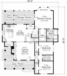 Farmhouse Style House Plan - 3 Beds 2 Baths 1811 Sq/Ft Plan #51-349 Floor Plan - Main Floor Plan - Houseplans.com