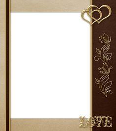Элегантный прозрачный коричневый с золотом любви Рамка в формате PNG