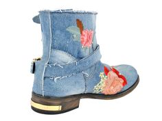 (3) Womens Boot Low Mimi Denim Embellished Flower Print & Crystals - Philipp Plein 2013 Spring Summer Denim Shoes Top Footwear Picks