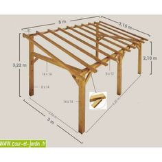 Auvent terrasse SHERWOOD, Carport bois de 5mx3
