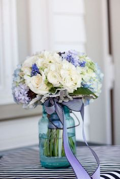 Blue & White floral centerpiece