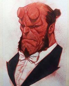 Hellboy by Ben Oliver Hellboy Wallpaper, Hellboy Tattoo, Kon Bleach, Comic Character, Character Design, Ben Oliver, Hellboy Movie, Arte Sketchbook, Arte Horror