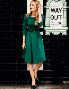 Ponte Skater Dress in emerald green @boden