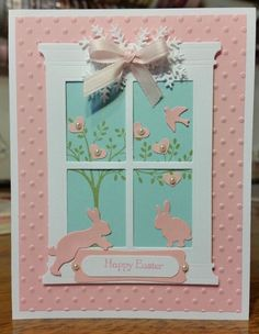 Easter Card using Memory Box Grand Madison Window Die, Designed by : Quinn DeCamera ebay user name decamerax3