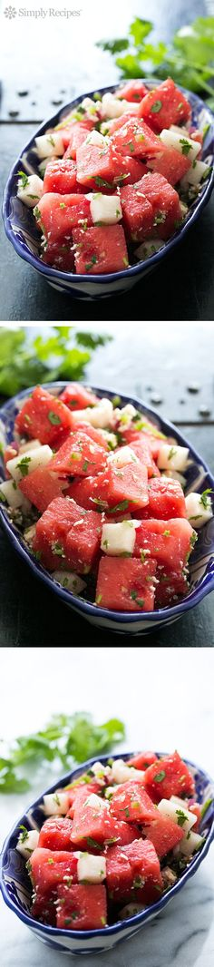 Watermelon Salad with Cotija, Jicama, and Lime ~ South of the border spin on watermelon salad! With fresh watermelon, jicama, cilantro, and cotija cheese. ~ SimplyRecipes.com