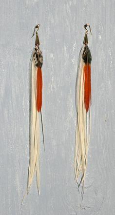 Freeravin - Innocent Goddess, $65.00 (http://www.freeravin.com/innocent-goddess/) #white #feather #earrings #long #bohemian #style #godess #design