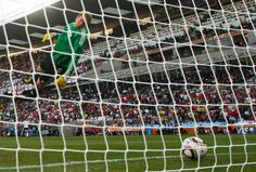 Germany's goalkeeper Manuel Neuer watches as the ball crosses the line during a 2010 World Cup second round match against England, Free State stadium, Bloemfontein June 27, 2010. England were denied an equalizing goal when a Frank Lampard shot from 2O meters out hit the crossbar and dropped well over the line. (REUTERS/Eddie Keogh)