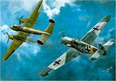 Bf-109 in pursuit of a PE-2