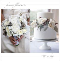 Floral Inspired Winter White Wedding Cake
