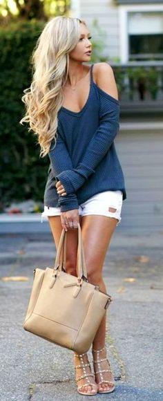 #spring #outfits Navy Cold Shoulder Knit White Denim Short Studded Sandals