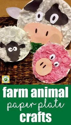 Farm Animal Paper Plate Crafts: A Super Fun and Easy Kids DIY Craft Made With Paper Plate and Tissue Paper. The post Farm Animal Paper Plate Crafts: A Super Fun and Ea… appeared first on Pinova. Farm Animals Preschool, Animal Activities For Kids, Farm Animal Crafts, Pig Crafts, Animal Crafts For Kids, Preschool Crafts, Art Activities, Clay Crafts, Diy Crafts How To Make