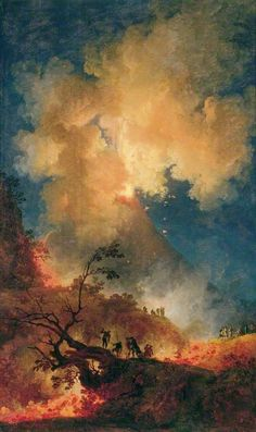 Pierre-Jacques Volaire (1729-1799), eruption of vesuvius in the moonlight (eruption of Vesuvius by moonlight), 1771