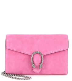 Gucci - Dionysus Chain Wallet Mini suede shoulder bag - Crafted in Italy from supple pink suede, this compact piece comes with multiple internal compartments and a silver-tone shoulder chain for easy organisation and wear. - @ www.mytheresa.com
