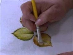Como pintar cesto de amor perfeito com folhas envelhecidas. Segunda parte: pintando flores e folhas. - YouTube
