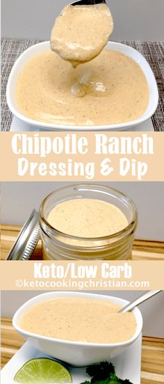 Chipotle Ranch Dressing & Dip - Keto and Low Carb - Salad Recipes Keto Sauces, Low Carb Sauces, Low Carb Recipes, Ketogenic Recipes, Easy Recipes, Low Carb Dressing, Chipotle Ranch Dressing, Keto Ranch Dressing Recipe, Homemade Ranch Dressing