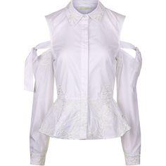 665f794e88d Jonathan Simkhai White Cord Panel Cut-out Shirt (100 CHF) ❤ liked on