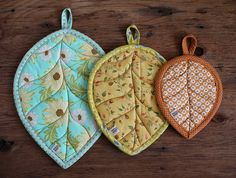 Leaf Potholders   by PatchworkPottery