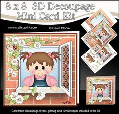 """A fun card with one of my cute characters looking out through the window. This lovely design is just a little smaller than 8"""" x 8"""" to allow for matting and layering.    A 3 sheets mini kit with ready to use card front, 3D decoupage to add depth to your card, plus a folded gift tag and small topper and an insert panel too!    Wherever possible I have designed these kits with easy cut layers so they are great for those who find cutting difficult and for children's crafting too!  ..."""
